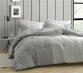 Easy to Match Designer College Bedding Set Half Moon Dark Gray and Light Gray XL Twin Comforter Made with Yarn Dyed Cotton