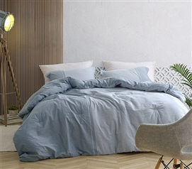 Stylish XL Twin Bedding Decor Half Moon Blue Hues Soft Yarn Dyed Cotton Oversized College Comforter Set