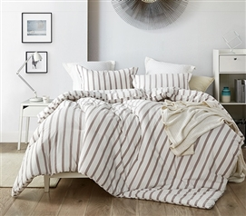 Machine Washable Dorm Bedding Designer Refined Earth Stripe Stylish Twin Extra Long Comforter