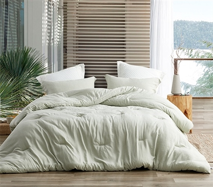 Extra Long Twin Comforter Set with Matching Dorm Pillow Sham Modal Yarn Dyed Passive Green College Bedding