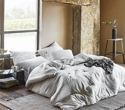 Designer Extra Long Twin Comforter Modal Yarn Dyed Easy to Match Passive Gray Dorm Bedding