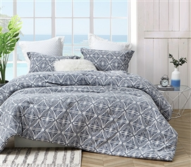 Extra Long Twin Comforter Set with Matching Dorm Pillow Sham Calypso Navy Oversized College Bedding