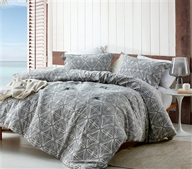 Soft Yarn Dyed Cotton Dorm Bedding Essentials Calypso Gray Designer Extra Long College Comforter Set