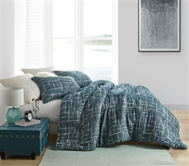 Restive Teal Blues Twin XL Comforter - 100% Yarn Dyed Cotton