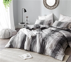 Easy to Match Dorm Bedding Essentials Charcoal Glacier Designer XL Twin Comforter Made with Yarn Dyed Cotton