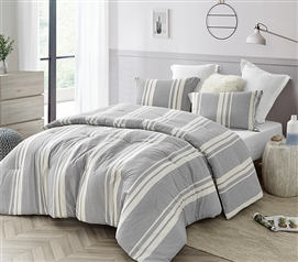 Modern Designer Dorm Bedding Set Neutral Cirbus Gray Oversized College Comforter with Striped Design