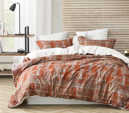 Brucht Designer Supersoft Twin XL Duvet Cover - Unearthed - Copper/Brown