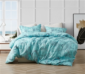 Stylish Tribeca Steel Gray and Aqua Blue Brucht Designer Dorm Bedding with Unique Geometric Design