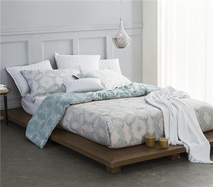 Twin XL Comforter - Designer Extra Long Twin Dorm Bedding - Teal / White
