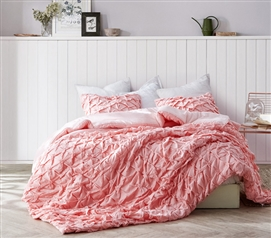 Layered Pleats Twin XL Comforter - Strawberry Quartz