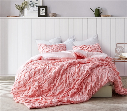 Strawberry Quartz College Comforter Made with Cozy Cotton XL Twin Bedding with Layered Pleats