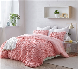 Strawberry Quartz Dorm Duvet Cover Stylish Layered Pleats Machine Washable College Bedding