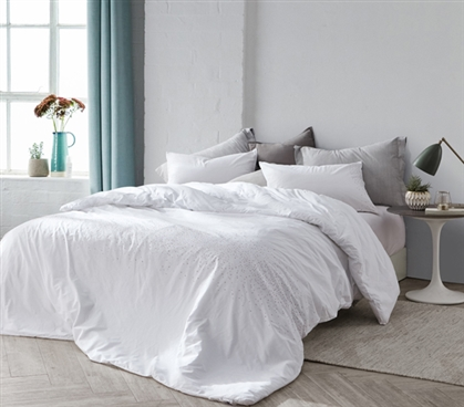 Machine Washable Twin Extra Long College Comforter Stylish Icing White Dorm Bedding