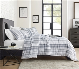 Navy Frayed Jacquard Twin XL Duvet Cover