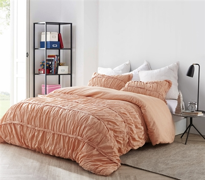 Ruffled Torrent Twin Extra Long Comforter High Quality Hand Crafted Dorm Bedding Apricot Nectar Color