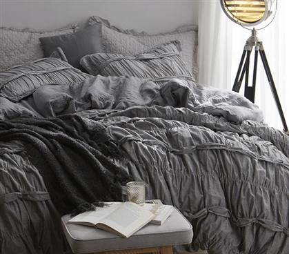 Twin XL Duvet Cover Gray Torrent Handcrafted Series