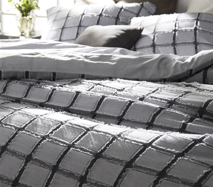 Stylish Extra Long Twin Bedding Black and White Dorm Room Duvet Cover Frayed Edgings
