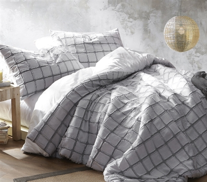 Frayed Edgings Twin XL Duvet Cover - White/Gray