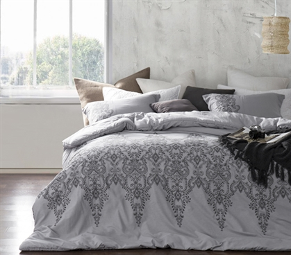 Baroque Stitch Styled Comforter - Alloy/Pewter Embroidery