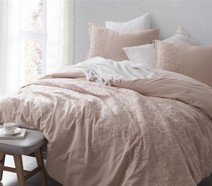 Baroque Stitch Styled Comforter - Ice Pink/Fawn Embroidery