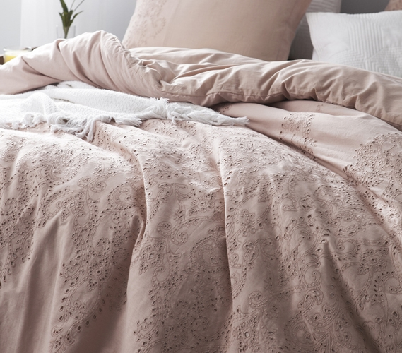 Baroque Stitch Styled Comforter Ice Pink Fawn Embroidery