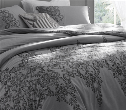 Beautiful Twin Extra Long Duvet Cover Styled Baroque Stitch Intricate College Bedding Alloy Gray and Pewter Embroidery