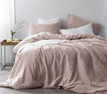 Baroque Stitch Styled Duvet Cover - Ice Pink/Fawn Embroidery