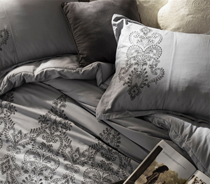 Embroidered Standard Size Dorm Pillow Sham Alloy/Pewter Gray Baroque Stitch Style Bedding