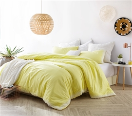 Beautiful Dorm Bedding Decor Endless Fields Embroidered College Comforter Limelight Yellow