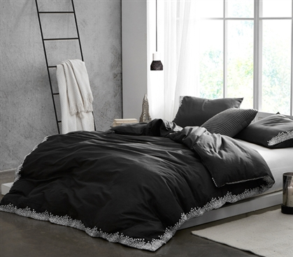 Endless Fields Embroidered Twin XL Duvet Cover - Carbon Black