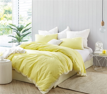 Endless Fields Embroidered Twin XL Duvet Cover - Limelight Yellow