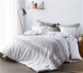 Cambria Stitch Embroidered Twin XL Comforter - White