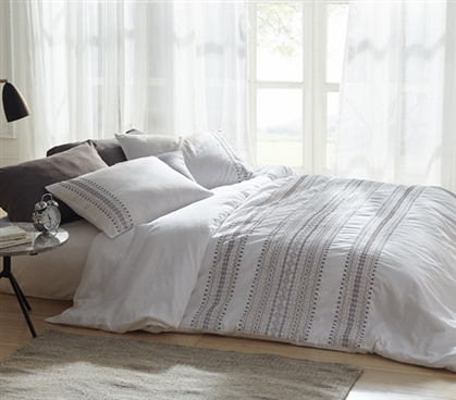 Cambria Stitch Embroidered Twin XL Duvet Cover - White