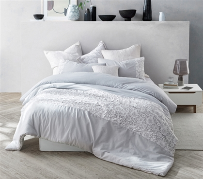 Easy to Match College Dorm Decor Ideas Neutral Gray and White Oversized College Comforter with Pretty Lace Pattern