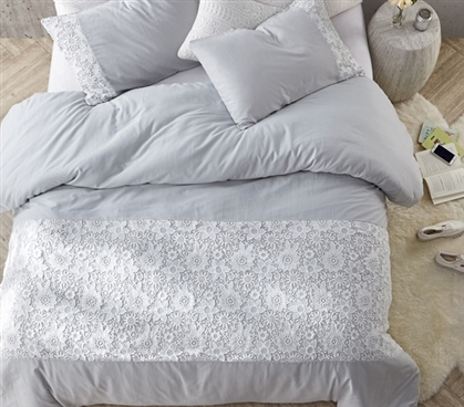 Essential Dorm Duvet Cover for Oversized College Comforter Light Gray Twin XL Bedding with Beautiful White Lace Details