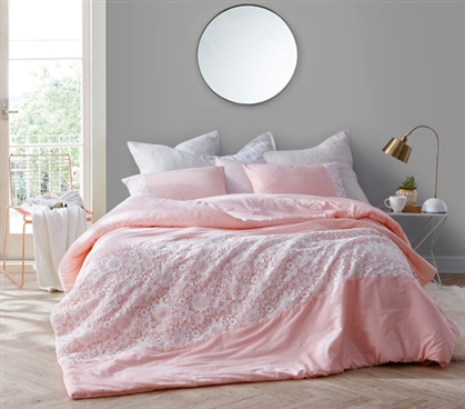 Beautiful College Dorm Bedding Decor Rose Quartz Pink Twin XL Comforter with White Lace Details