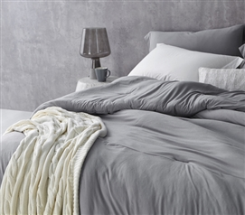 Most Comfortable Twin XL Oversize Comforter Alloy Gray Bare Bottom Dorm Bedding Made with Spandex Infused Microfiber