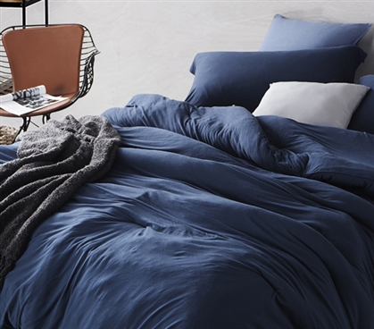 Navy Blue College Comforter Soft and Stretchy Nightfall Navy Bare Bottom Twin XL Bedding