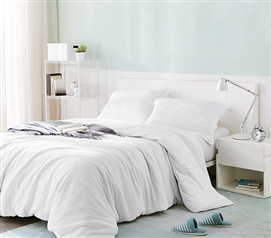 One of a Kind Comfortable Dorm Bedding Ultra Cozy White Bare Bottom Extra Long Twin Duvet Cover