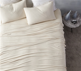 Softest Dorm Bedding Sheets High Quality Bare Bottom All Season Almond Milk XL Twin Bedding