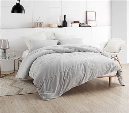 Coma Inducer Twin XL Duvet Cover - Baby Bird - Glacier Gray