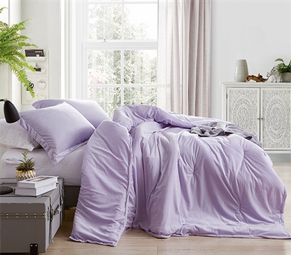 Cute Dorm Bedding Essentials with Matching Purple College Pillow Shams Girls Dorm Decor Ideas