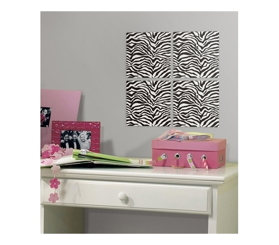 Zebra Foam Tiles - Peel N Stick (Includes 4 tiles) Dorm Wall Decor ...