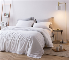 White College Bedding Neutral Dorm Decor Set 300 Thread Count Cotton Duvet Cover