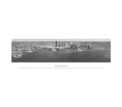 Chicago, Illinois - Black and White Panorama