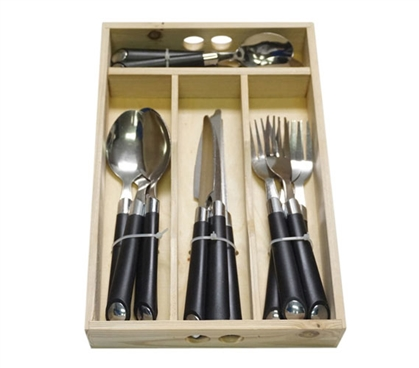 16 Piece Silverware Set with Wooden Tray