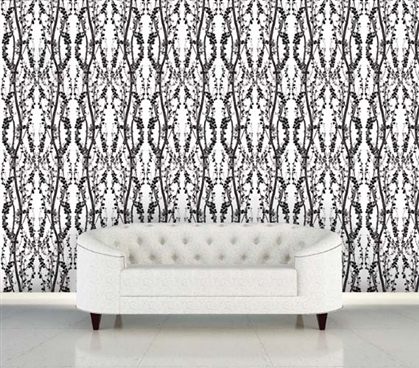 Branches Black and White Designer Removable Wallpaper For Dorms College Supplies