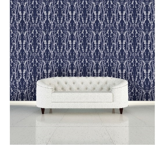 Branches Mystery Blue Designer Removable Wallpaper Part 55
