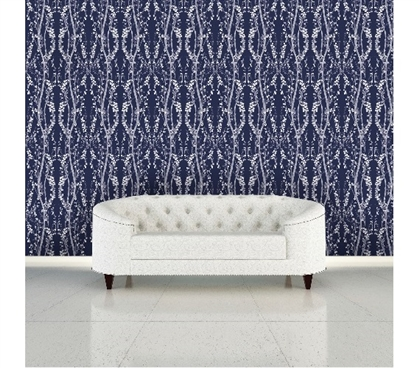 Branches Mystery Blue Designer Removable Wallpaper Dorm Room Wallpaper