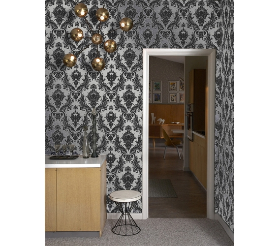 Damsel Metallic Silver Designer Removable Wallpaper Part 36